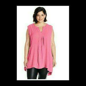 Melissa McCarthy Tops - Sale  Melissa McCarthy Pink Hi-Low Pleated Tunic