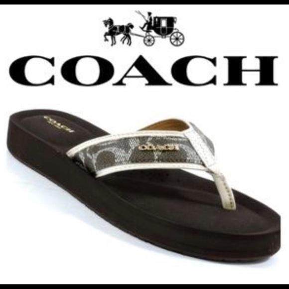 833679110a Coach Shoes   Judy Creambrown Flip Flops Size 95   Poshmark