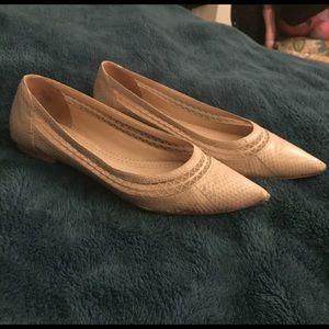 Pour la Victoire Shoes - Nude Faux Snake Skin Flats