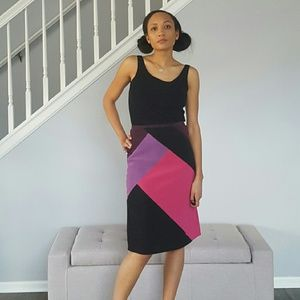 Dresses & Skirts - Pink & Purple Midi Color Block Skirt