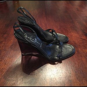 Casadei Shoes - Casadei Black Leather Lucite Wedge Sandals Sz 6.5