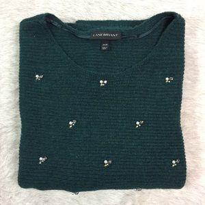 Lane Bryant Sweaters - Lane Bryant green 3/4 sleeve jeweled sweater 26/28