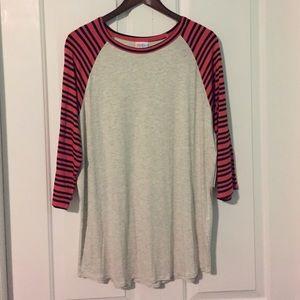 Lularoe Randy Grey with coral and black stripes