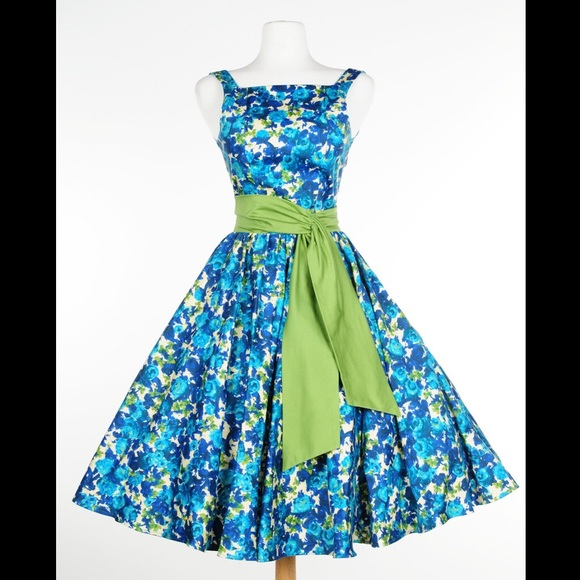 Pinup Girl Clothing Dresses & Skirts - Pinup Girl Clothing Maria Dress blue floral HEMMED