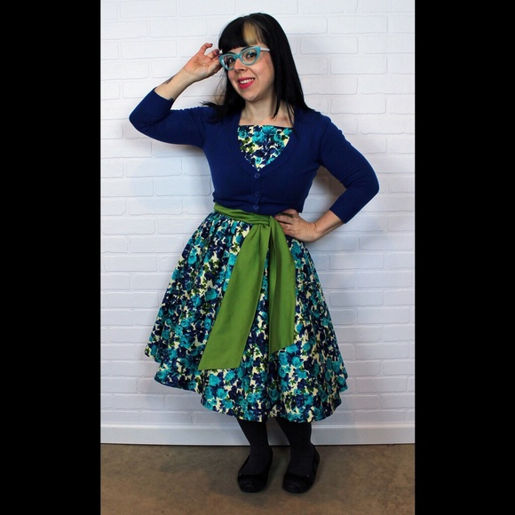 Pinup Girl Clothing Dresses - Pinup Girl Clothing Maria Dress blue floral HEMMED