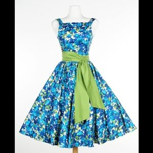Pinup Girl Clothing Maria Dress blue floral HEMMED