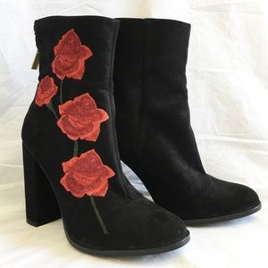 LF Shoes - New rose embroidery suede boot