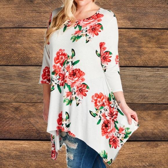 f08ac46d6d9f3b mockingbird + poppy Tops | Plus Size Floral Print Swing Top | Poshmark