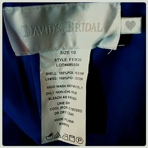 David's Bridal Dresses - Prom Cruise Wedding Party Strapless Dress Blue