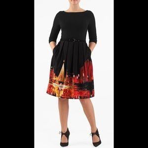 eshakti Dresses & Skirts - New Eshakti Mixed Media Cityscape Dress M 10