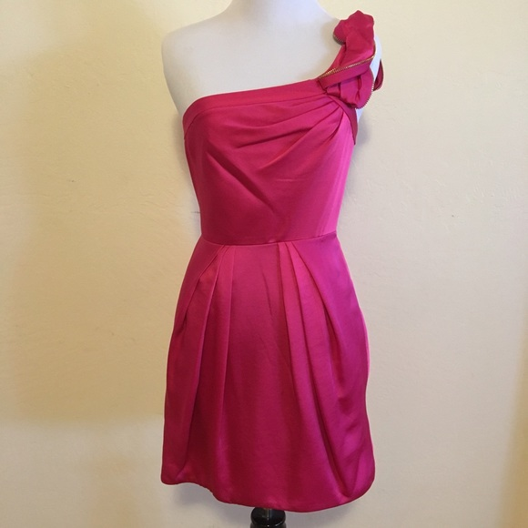 e4e853bb563d BCBGMaxAzria Dresses | Sale Hot Pink Oneshoulder Dress | Poshmark