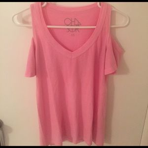 Chaser Tops - Neon Pink Chaser Open Shoulder Tee