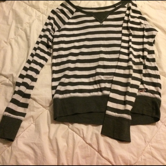 6758f2030 Hollister Tops | Juniors Xs Gray White Striped Shirt | Poshmark