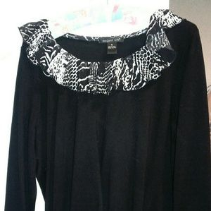 august silk Tops - Black Ruffle Scoop Neck & Cuffs Black Sweater