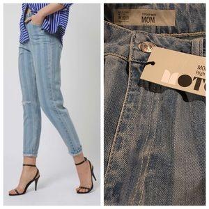 Topshop Denim - Topshop Moto striped high waist mom jeans