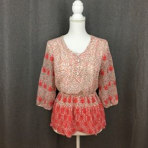 Guess Tops - Guess Embroidered Floral Peasant Top