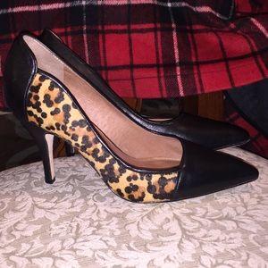 Corso Como Shoes - Corso Como black leather & leopard haircalf heels