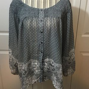 Umgee Tops - Umgee Plus Button Down Peasant Top