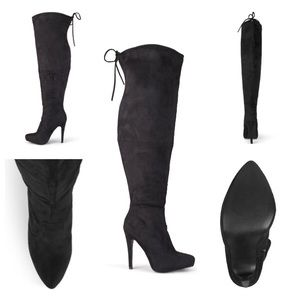 Journee Collection Shoes - NIB Black Faux Suede Wide Calf Over the Knee Boots