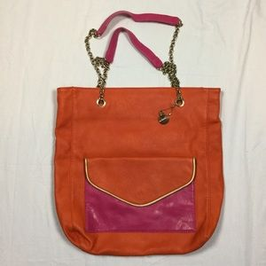 Large Leather Tote with chain