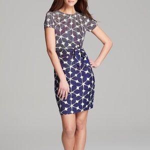 DVF Blue Gradient Silk Zoe Printed Dress