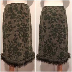 Moschino Dresses & Skirts - Moschino Green Wool Floral Print Fur trim Skirt