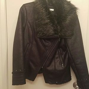 Black Rivet Jackets & Blazers - Black Rivet Faux Leather Jacket with Studs