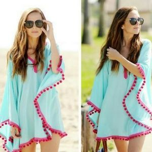 CHOISE Tops - Pompom cover up poncho v neck
