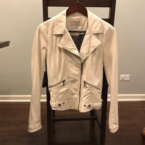 Zara Trafaluc faux leather white biker jacket
