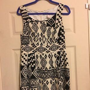 Black and white geometrical pattern dress