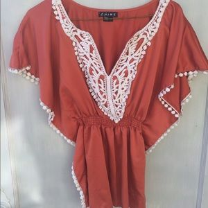 SOLD<Chime silk boho embroidered, crochet