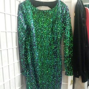 Iridescent sequinned mermaid dress w keyhole back