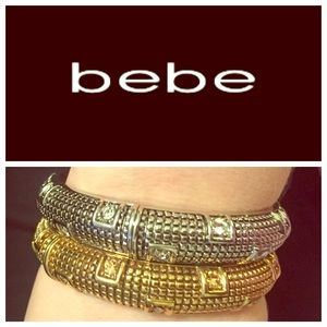 bebe Jewelry - Gold and silver bangle set with crystals