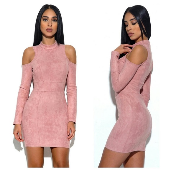 Rumor Apparel Dresses & Skirts - Shoulder Cutout Suede Bodycon Dress #808