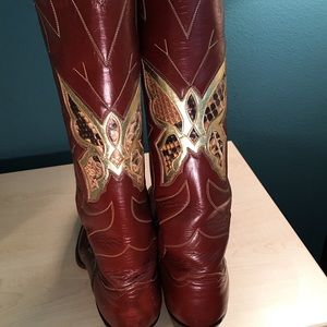 Justin Boots Shoes - Vintage 1970's Justin Cowboy Boots
