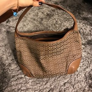 Coach Handbags - Coach tan leather and coach monogram design