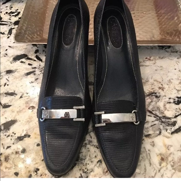 Lauren Ralph Lauren Shoes - RALPH LAUREN BLACK NAVY REPTILE  LEATHER  HEEL 8 B