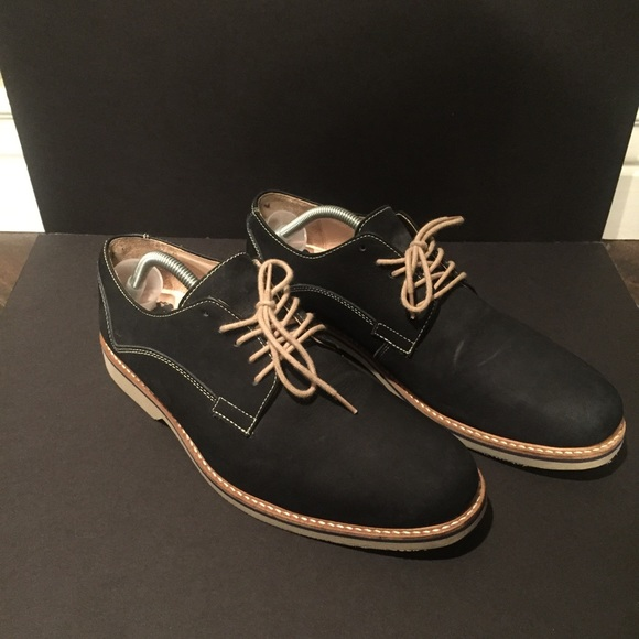 306d7125007 Navy blue suede and tan casual H M dress shoes