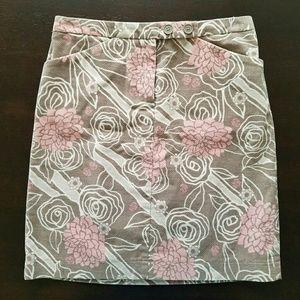 AnnTaylorLoft Beige/Pink Floral Velvet Mini Skirt