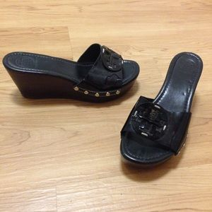 Tory Burch Shoes - Tory Burch Black Staked Sandals