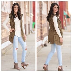 2 a T Boutique  Jackets & Blazers - Olive hooded cargo vest