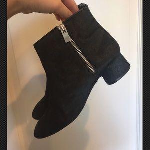 Zara block heel black ankle bootie fur calf hair