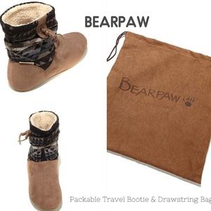 BearPaw Shoes - BEARPAW Booties Taupe & Aztec With Drawstring Bag
