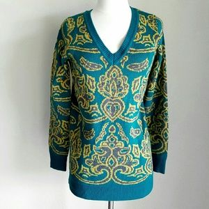 Forever 21 Sweaters - Forever21 TealGreen & Yellow Paisley Tunic Sweater
