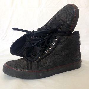 Valentino Garavani Other - RARE Valentino Garavani Black Mesh Cloth Sneakers
