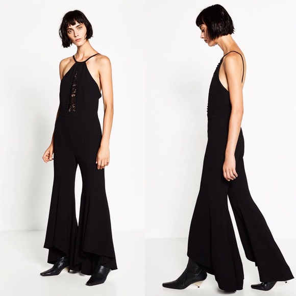2c65c97e701c ZARA BLACK LACE JUMPSUIT WITH FLARED TROUSERS