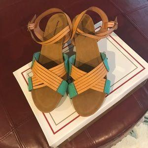 Pierre Dumas Shoes - Tan & turquoise colored sandals