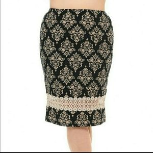 Bellino Clothing Dresses & Skirts - Bellino Plus Damask Pencil Skirt