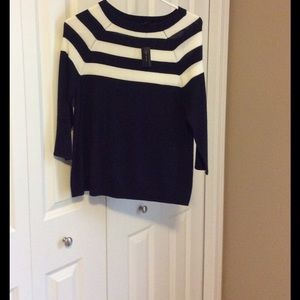 The Limited Sweaters - The Limited Navy & White Sweater
