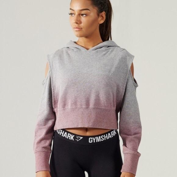 06a06d4d15bfe gymshark Tops - Gymshark Cropped Cold Shoulder Ombré Hoodie